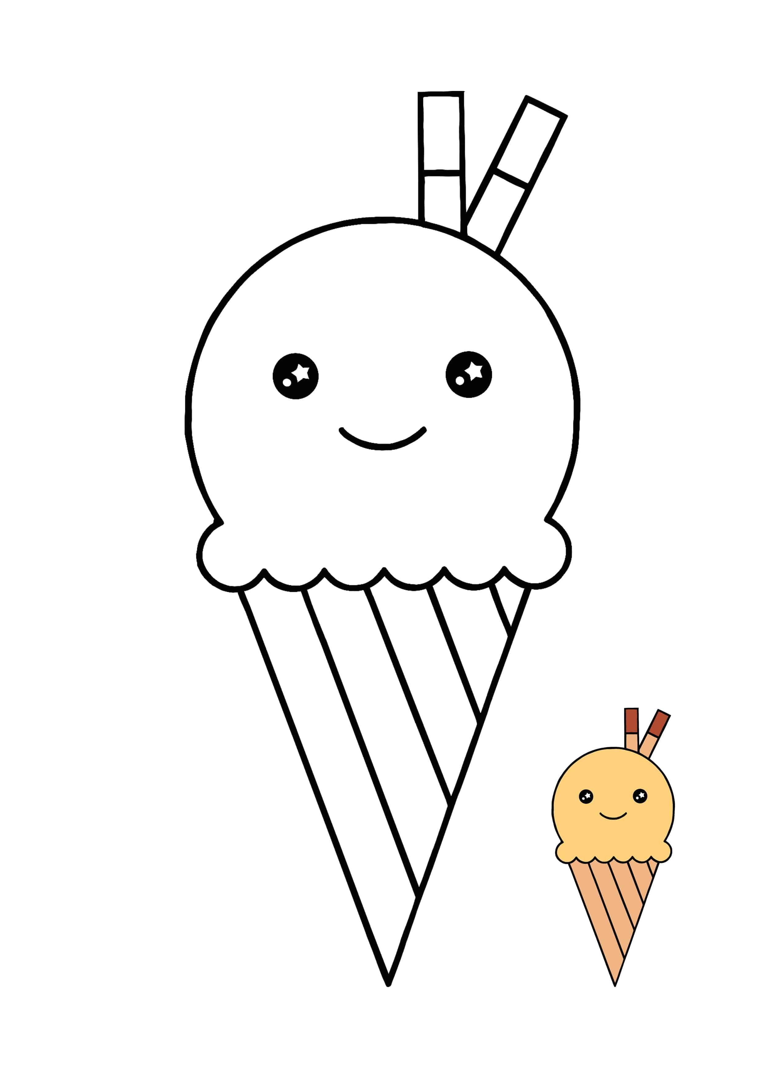 Kawaii Ice Cream Cool Coloring Page Cool Coloring Pages Ice Cream Coloring Pages Coloring Pages