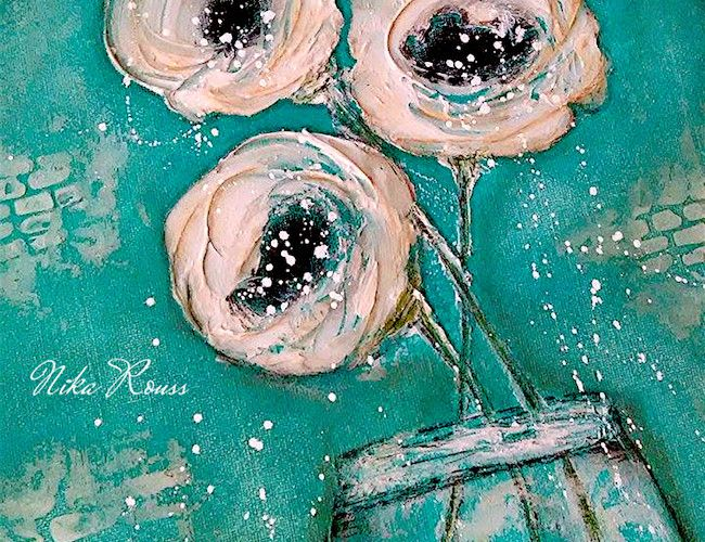 roses painting on canvas