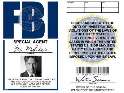X-Files: Special Agent Fox Mulder badge by LieutenantGordon   Scully