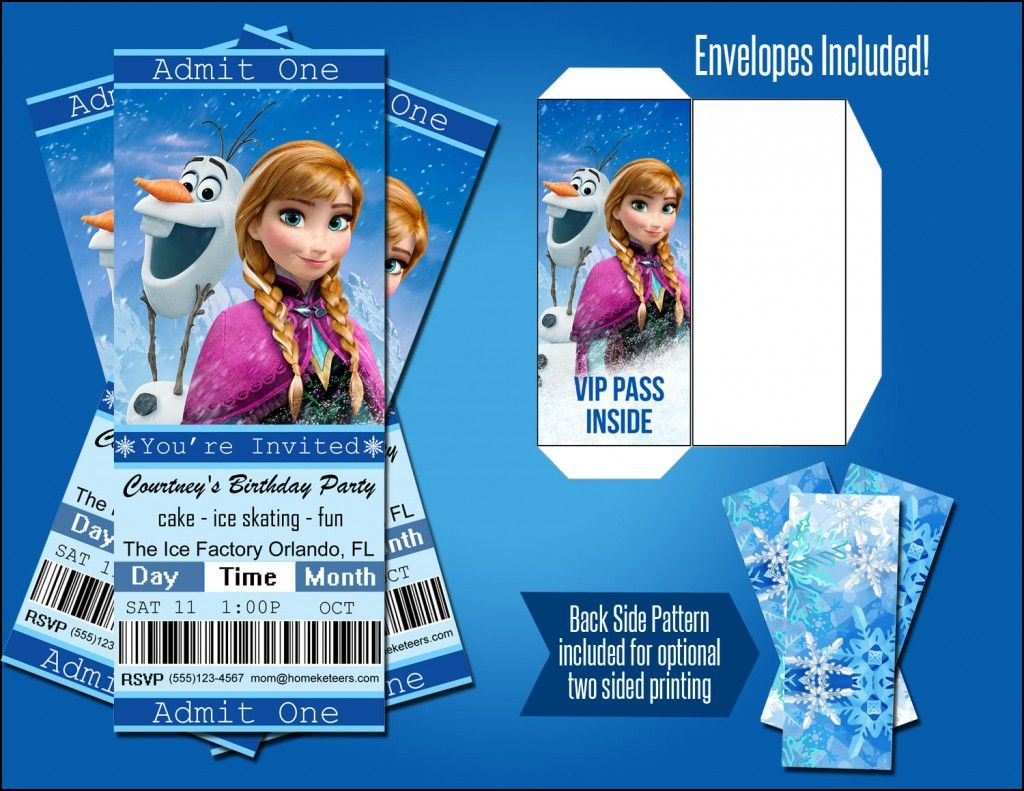 Personalized Frozen Movie Ticket Invitations Only $1.99! | FREE ...