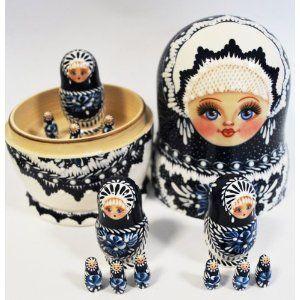 Unique Rare Russian Hand Painted Handmade Blue Nesting Dolls Set of 13 Pcs Artist Signed