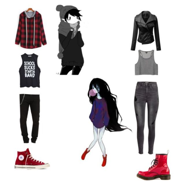 Adventure Time: Marshall Lee and Marceline (genderbend) by stop-being-kawaii