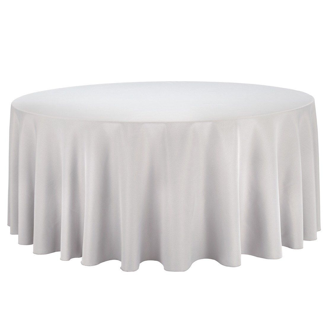 132 Inch Round Silver Tablecloth Polyester Wedding Tablecloth