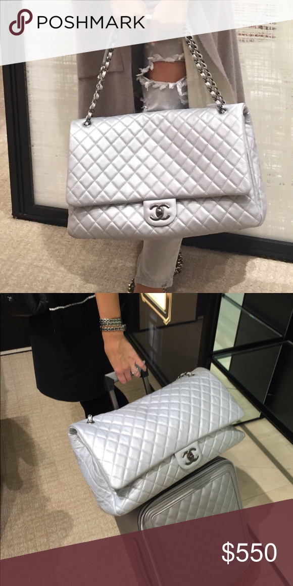 298bb183af14 Chanel XXL FLAP From the Spring 2016 Collection. Silver quilted calfskin Chanel  XXL Airline Classic