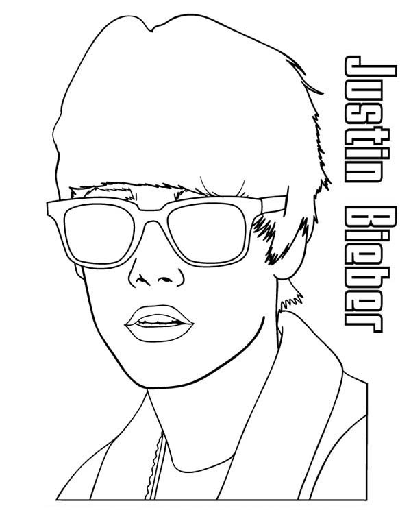 Justin Bieber Wearing Sunglasses Coloring Page Netart Coloring Pages Justin Bieber Easy Coloring Pages