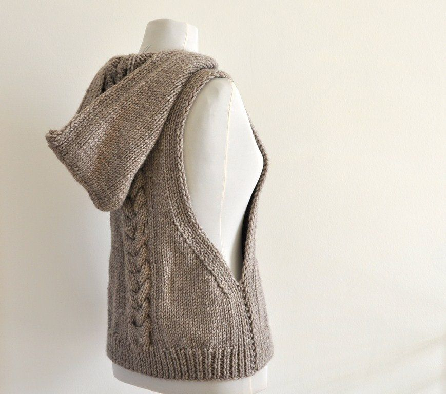 Sweater Vest Hooded Vest Sweater Hand Knit Pale Brown Earth Tones ...