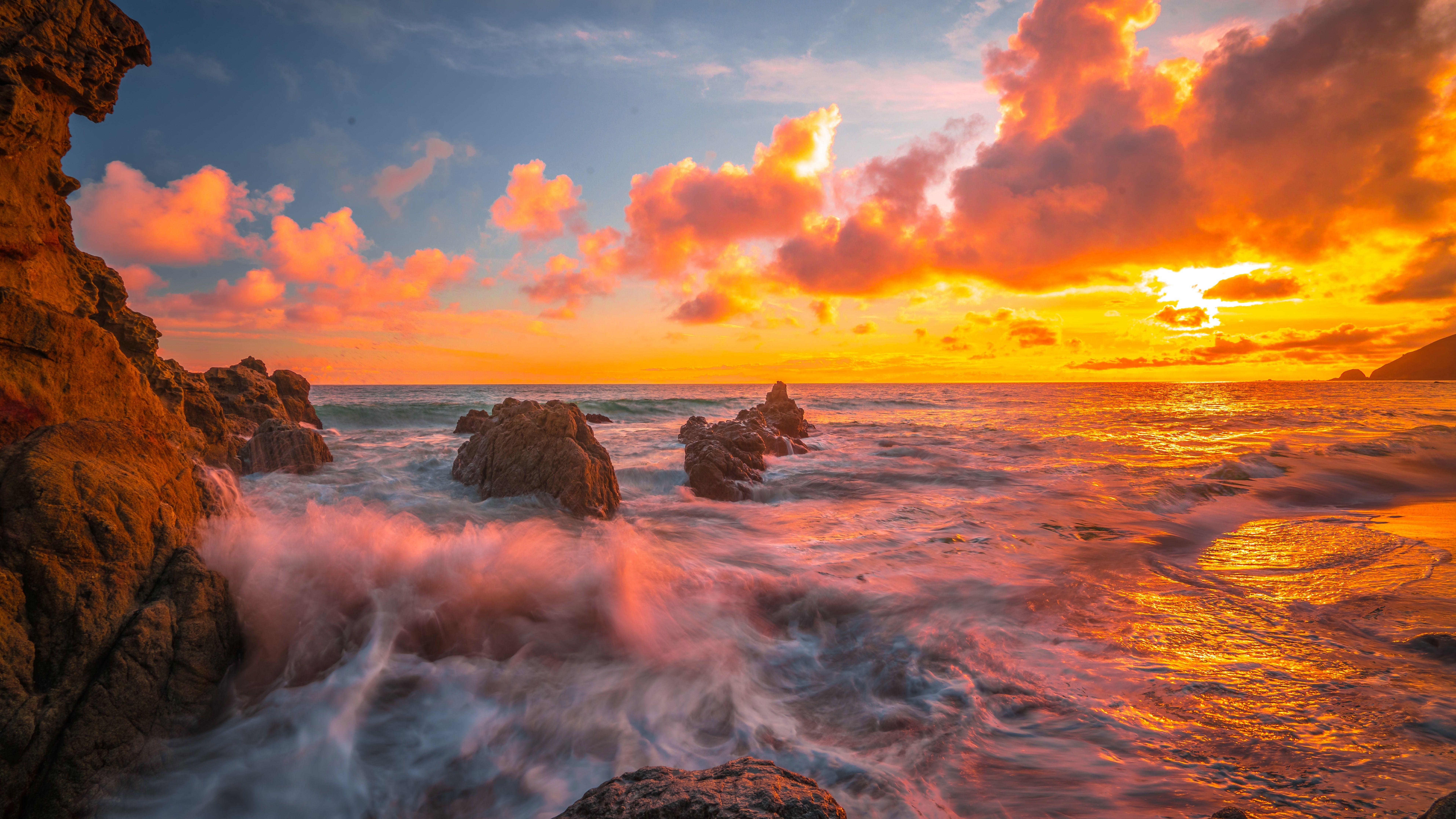 Sea Shore Orange Sky Ocean Horizon Sunset Rock Coast Wave 8k Uhd Afterglow Evening 8k Wallpap Nature Photography Background Orange Sky Hd Wallpaper