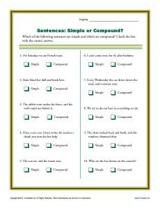 Simple or Compound Sentence Worksheets