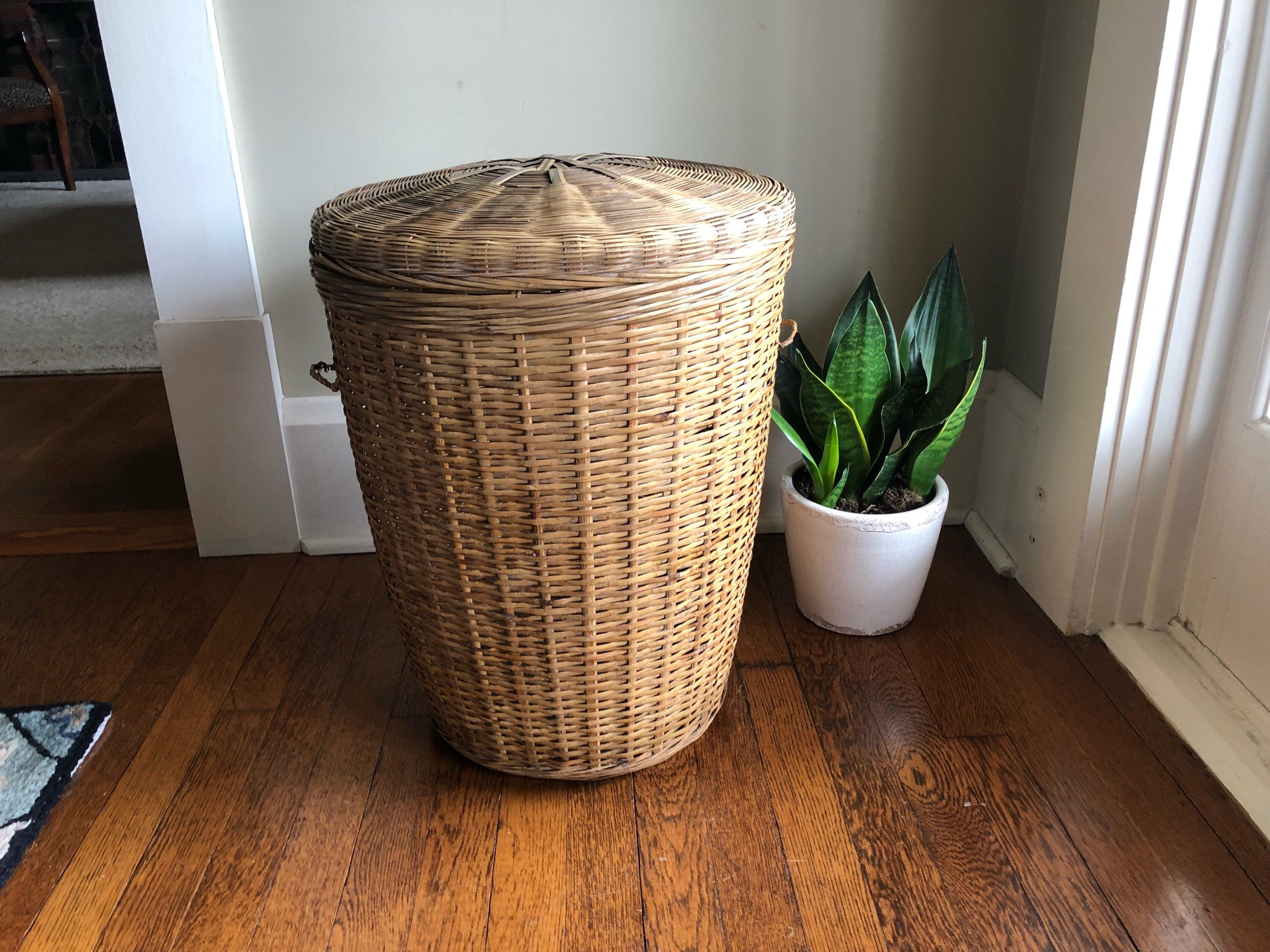 Wicker Laundry Basket With Lid Bamboo Boho Bohemian Hamper Vintage Retro By Shhhitsvintage On Etsy Https Www E Laundry Basket With Lid Retro Vintage Wicker