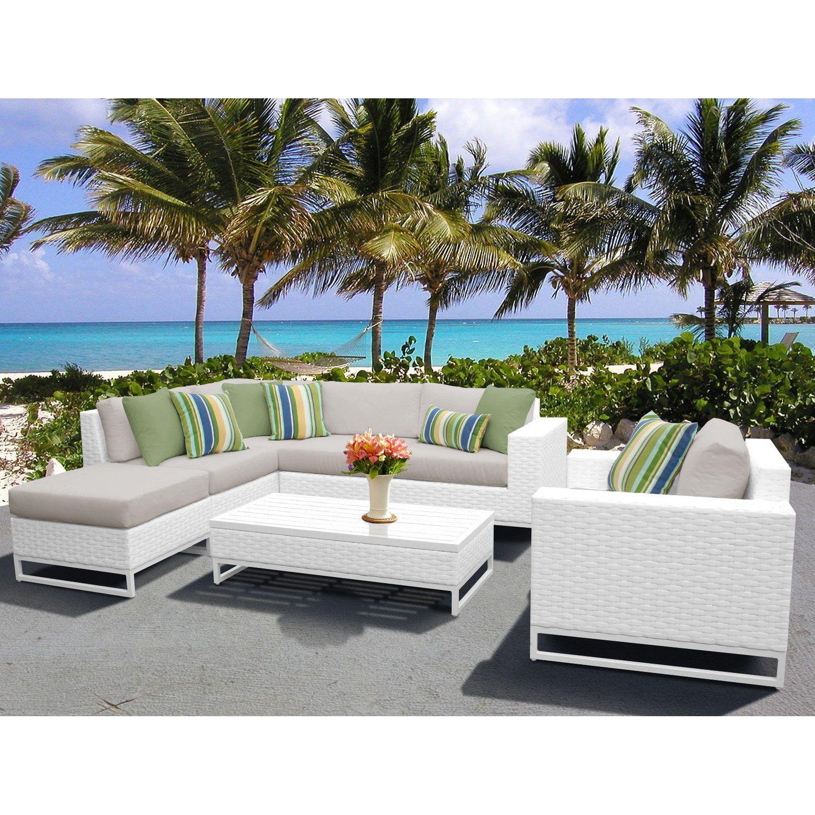 Outdoor Tk Classics Miami Wicker 7 Piece Sectional Patio