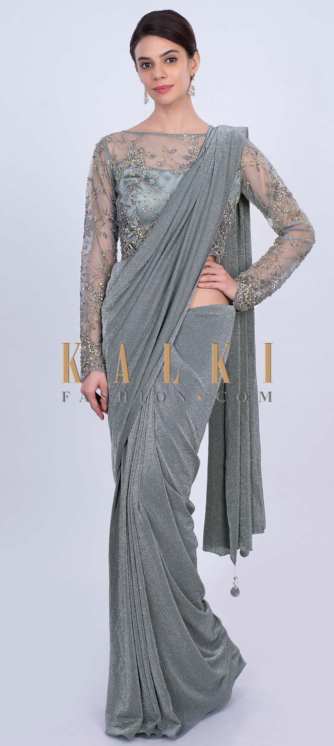 e09eb3bfa6 We ship worldwide (Free Shipping over US$100) Click Anywhere to Tag Grey  shimmer lycra saree with matching net embroidered blouse only on Kalki A  perfect ...