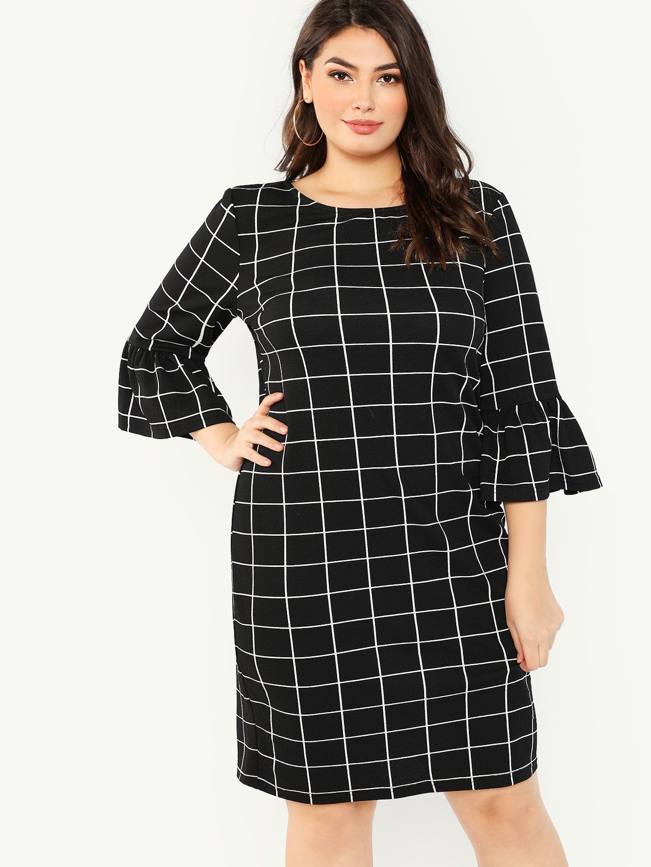 694671e6262f Plus Trumpet Sleeve Grid Dress -SheIn(Sheinside)
