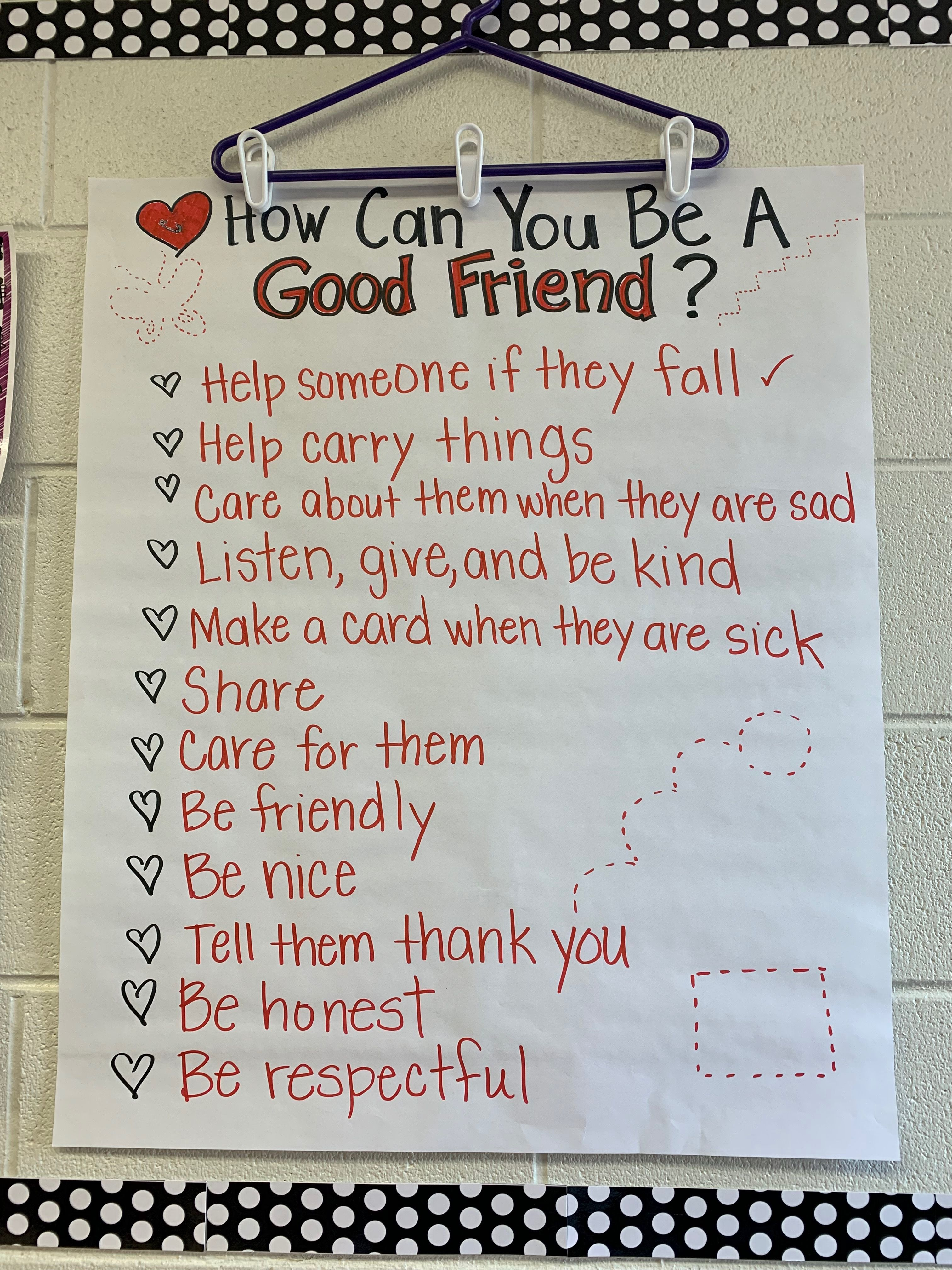 Be A Friend Anchor Chart Beginning Of The Year