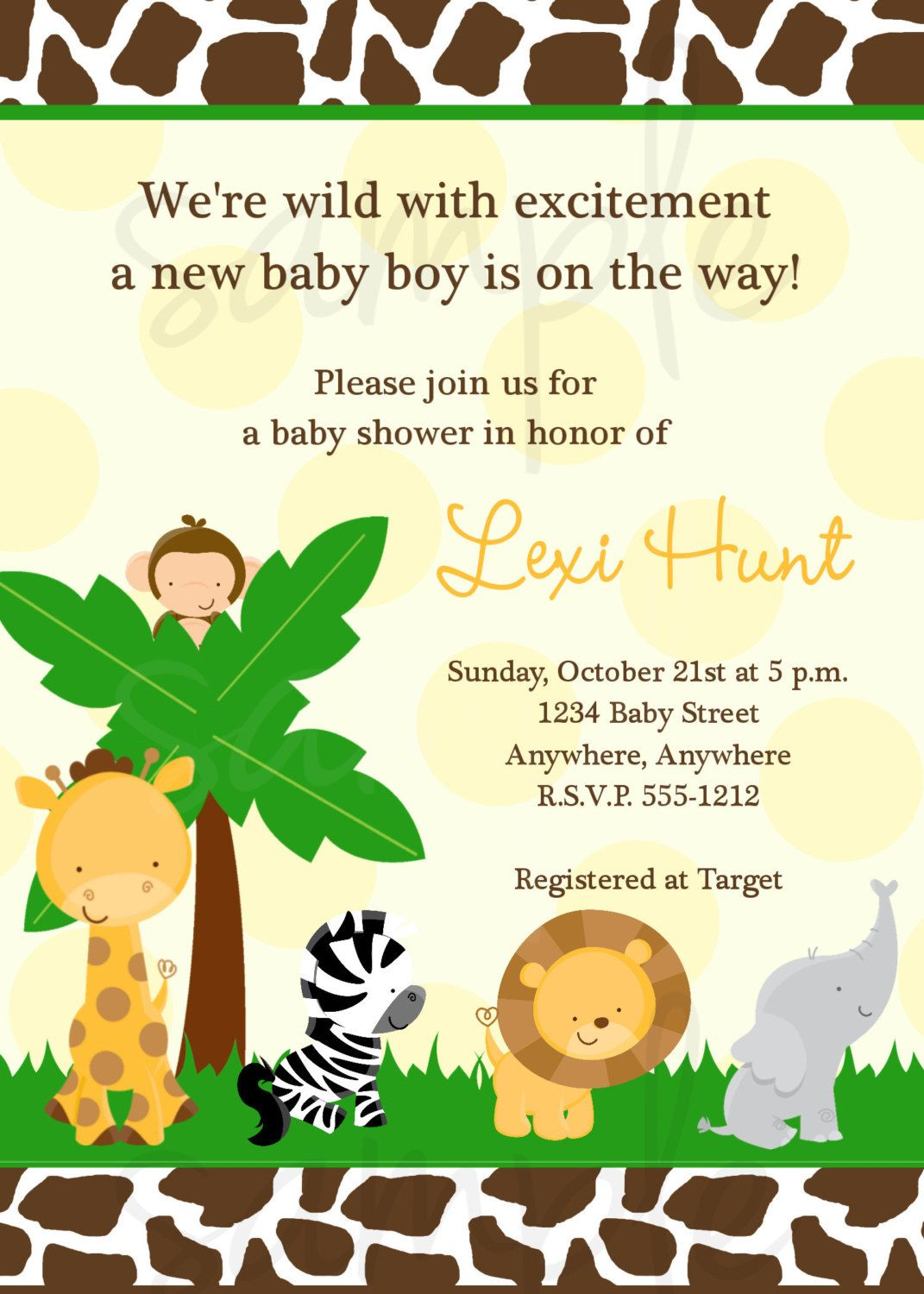 Safari Jungle Baby Shower Invitation | Safari theme, Shower ...