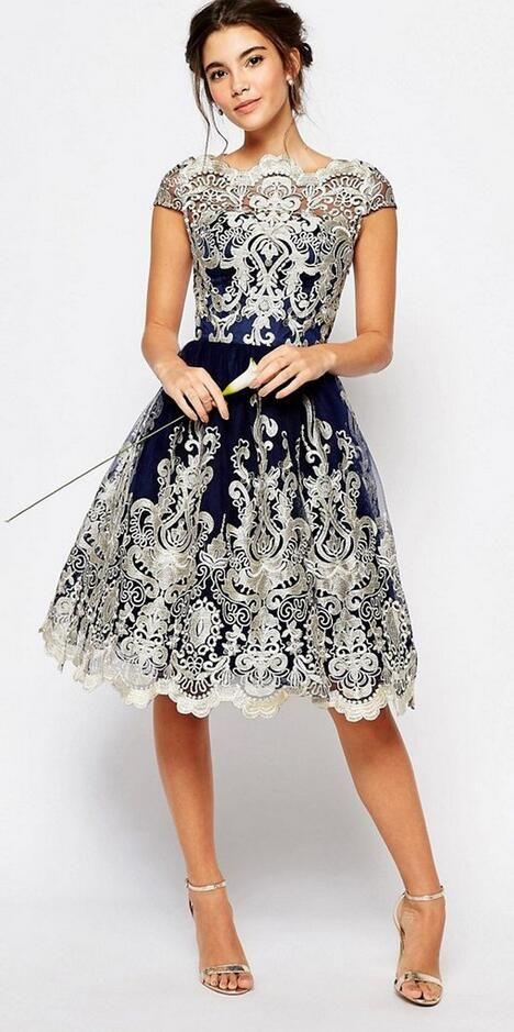 Retro Mesh Embroidery A-Line Short Dress