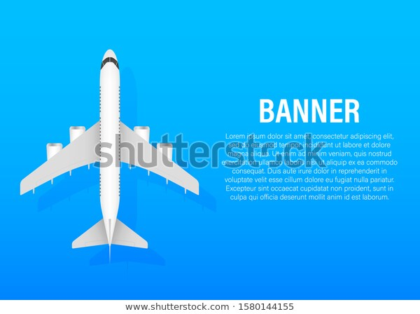 White Airplane On Blue Background Profile Stock Vector