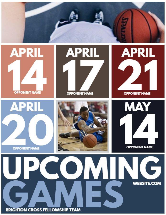 minimalist sports team schedule flyer template design sports team