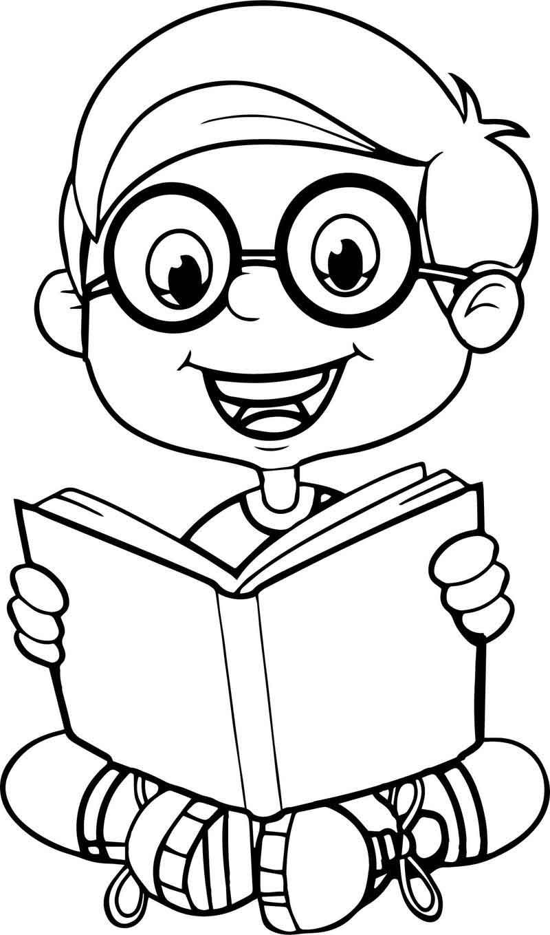 Reading A Book Cute Cartoon Kid Coloring Page Cartoon Coloring Pages Coloring Book App Curious George Coloring Pages