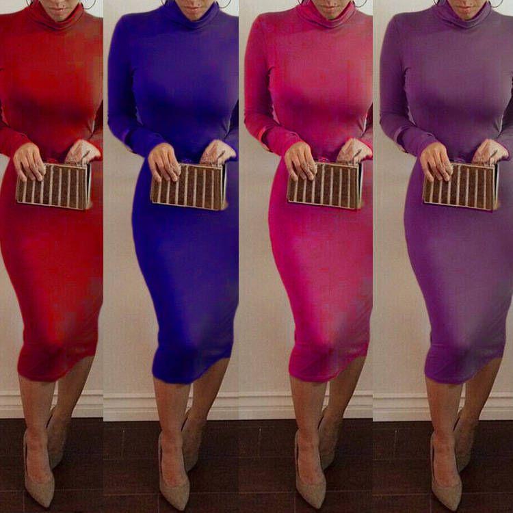Women Long Sleeve Turtleneck Warm Vestidos Casual Bandage Bodycon ...
