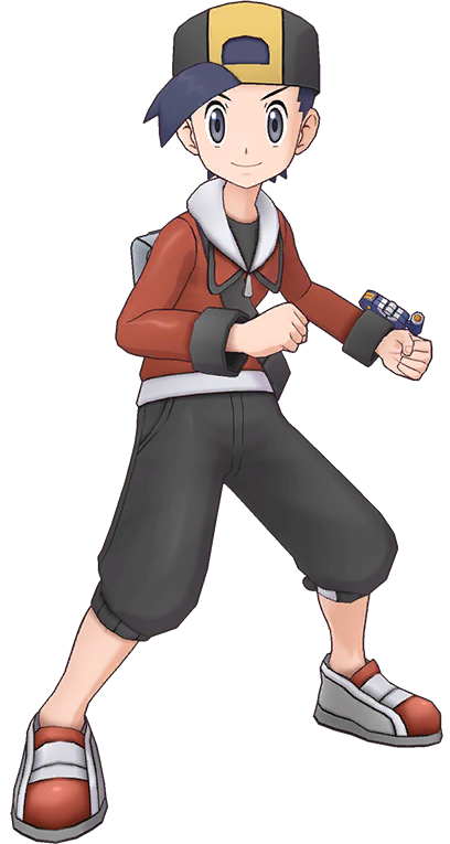 For The Variant Appearing In The Games See Ethan Game Ethan Is A Character Appearing In Pokemon Masters 1 Appeara Navy Blue Hair Red Hoodie Grey Backpacks
