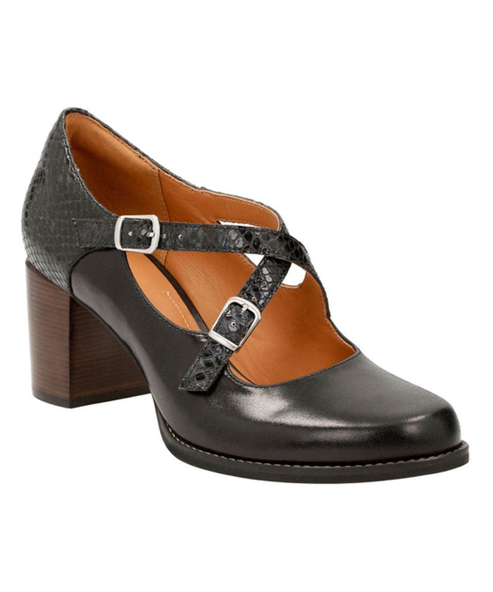Look what I found on #zulily! Black Snakeskin Print Tarah Presley Leather Pump by Clarks #zulilyfinds