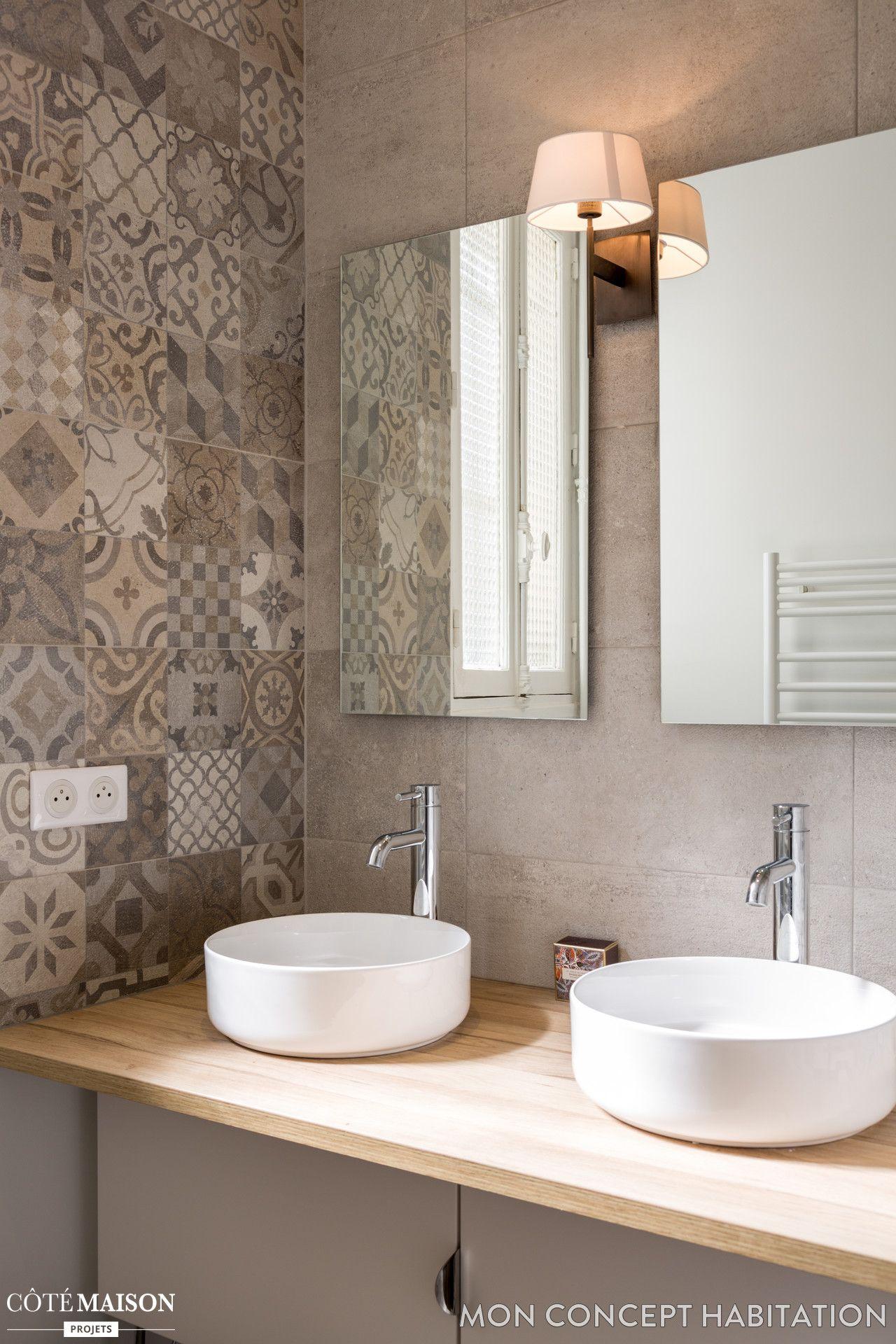 vasque beige salle de bain Double vasque et carreaux de ciment pour la salle de bains
