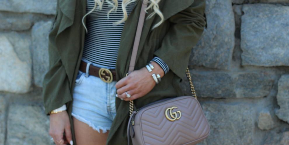 Spring style  - green trench, denim shorts, stripe bodysuit, Bauble Bar choker, Gucci Bag - Urban Blonde