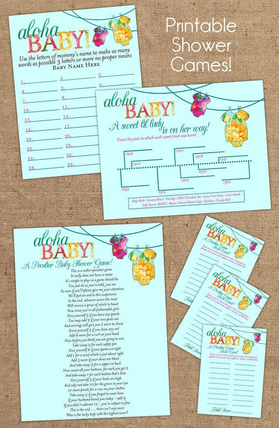 photograph about Printable Luau Party Games referred to as 4 Printable Luau Onsie Shower Online games Kid Shower in just 2019