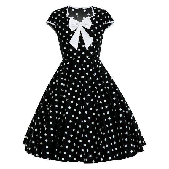 Black Polka Dot Dress Vintage Dress Retro Dress Pinup Dress Rockabilly Dress  Black Dress Picnic Summ 1fd3ce6515f7