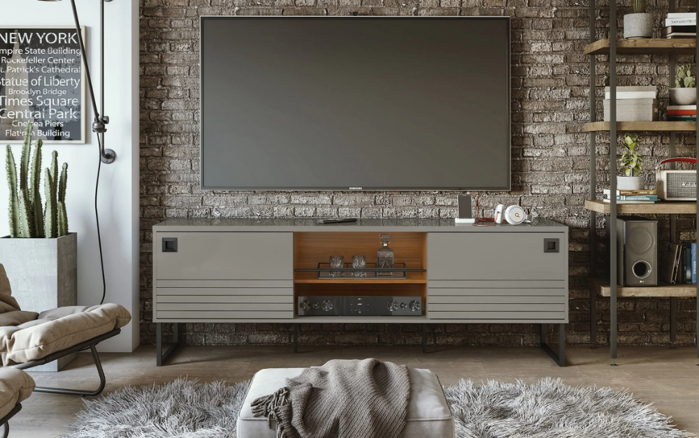 Farley Gray Tv Stand Grey Tv Stand Tv Stand Storage Spaces