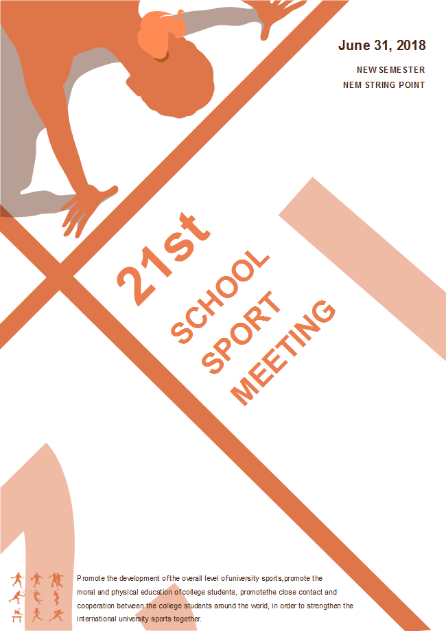 this school sports meeting poster template is simple which leaves