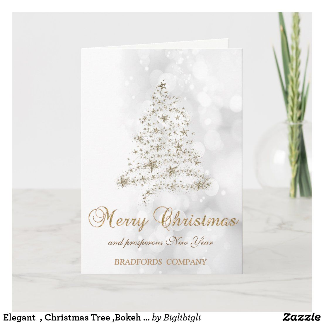 Elegant Christmas Tree Bokeh Company Holiday Card Zazzle Com Company Holiday Cards Holiday Design Card Business Holiday Cards