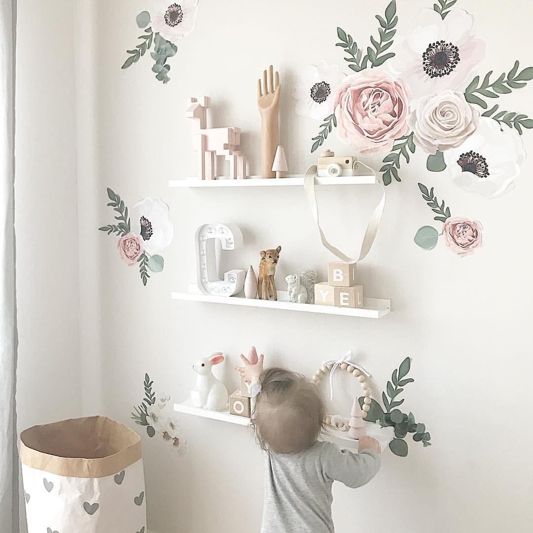 Liebenswert Mädchenzimmer Wandgestaltung Ideen Von Wandsticker Blumen-set Wandtattoo Mädchenzimmer Inspo Ideen Blüten