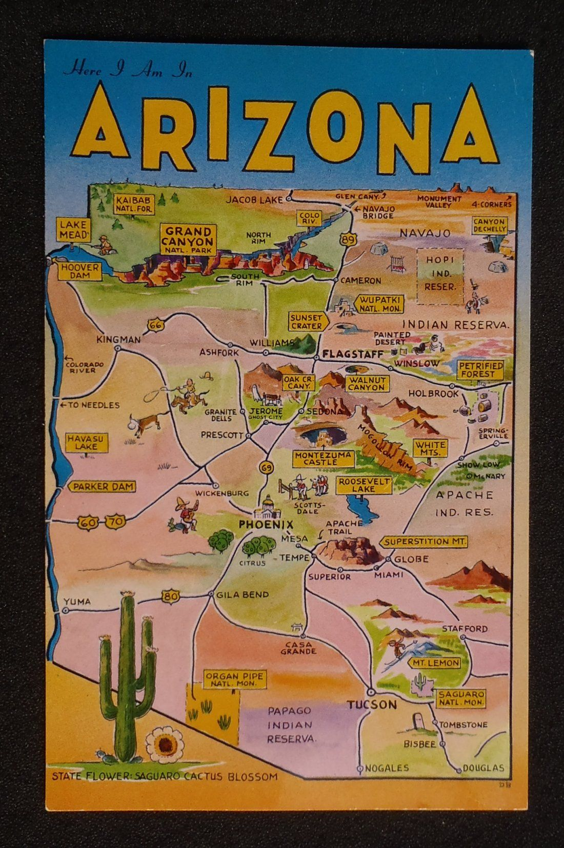 Map Of Arizona Landmarks.Details About 1960s Arizona State Map Greetings Small Views