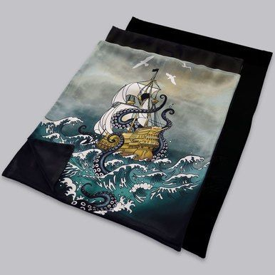 5cab5c54e594 Stunning scene of Galleon on rough seas attacked by Kraken Sea Monster.  Luxury Silk Scarf makes an unusual Menswear Gift. By Designer Becca Who