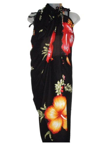 75c65e67a9 Beach Covers. Hawaiian Long Black Sarong w/ Orange & Red Hibiscus East  of Maui Hawaiian Store