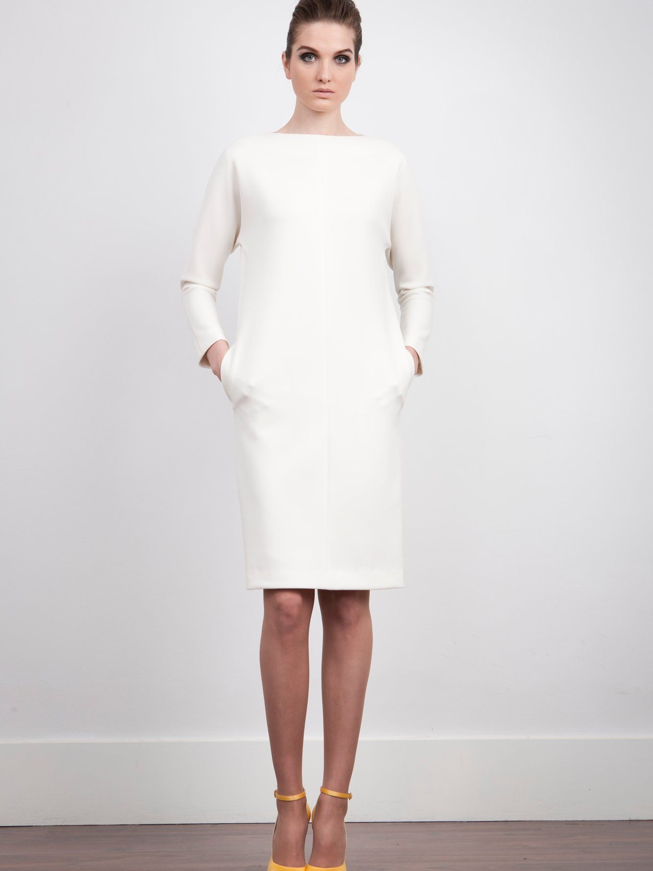 17c1af38f10 The 2nd Skin Co. White neoprene dress. Long sleeve. #Fashion #Women #Dress