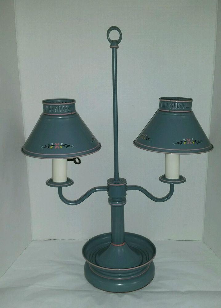 Vintage Double 2 Arm Socket Metal Tole Toleware Blue Desk Lamp Lamp Desk Lamp Blue Desk