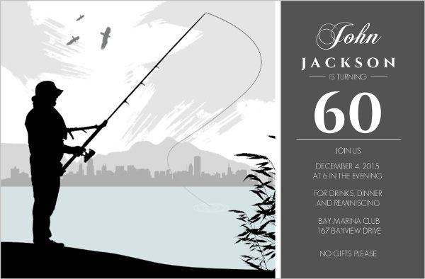grey fishing 60th birthday invitation in 2019 70th. Black Bedroom Furniture Sets. Home Design Ideas