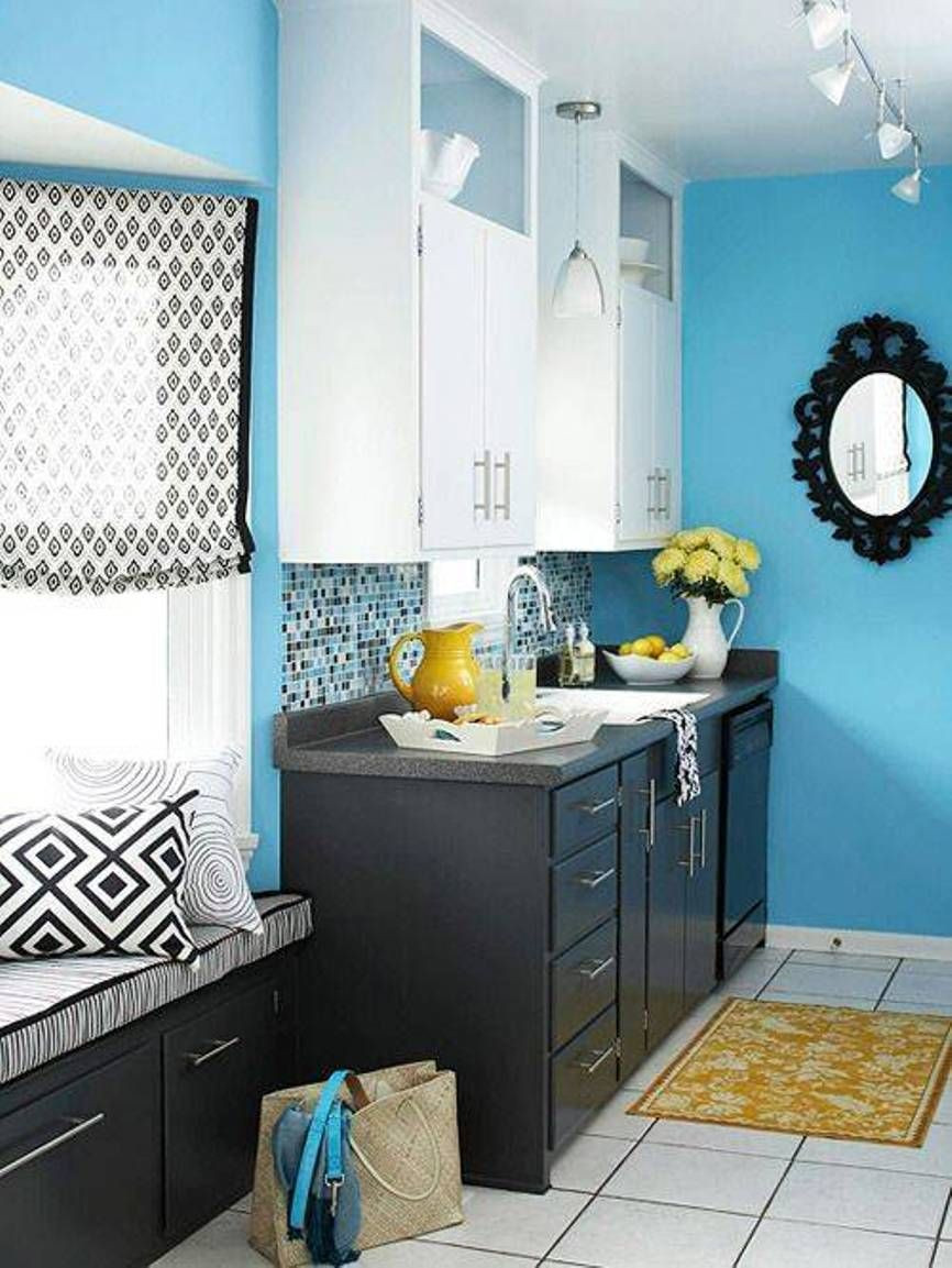 Kitchen, Kitchen Turquoise Walls With Small Ornate Mirror And White ...