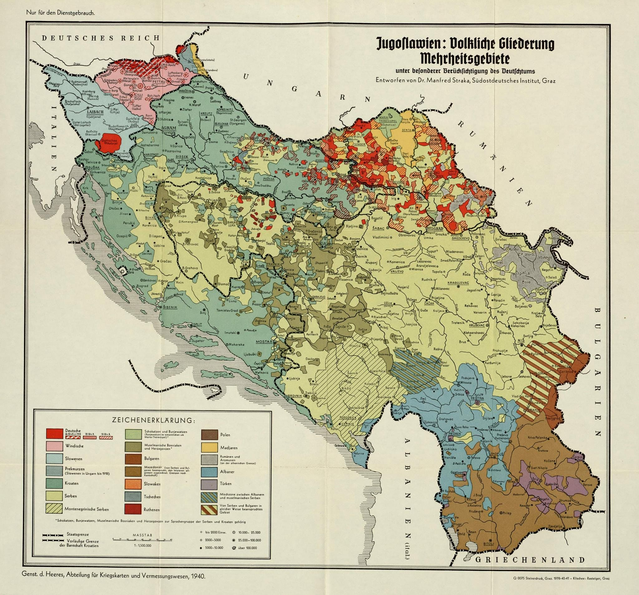 An ethnic map of Yugoslavia made by Germany in 1940 | Map it | Map ...
