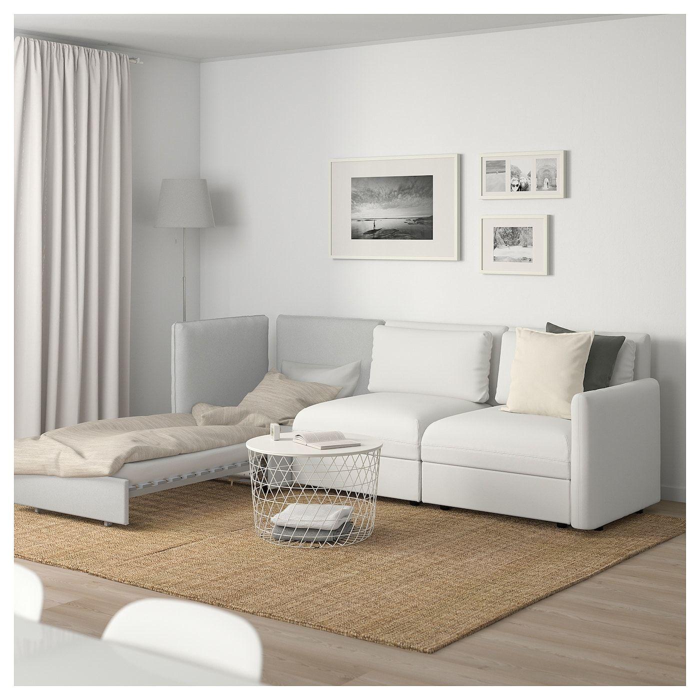 Vallentuna Canape Modulaire 3 Pl Avec Can Lit Et Rangement Murum Orrsta Blanc Gris Clair Magasinez Chez Ikea Ikea Corner Sofa Bed With Storage Vallentuna Sofa Bed With Storage