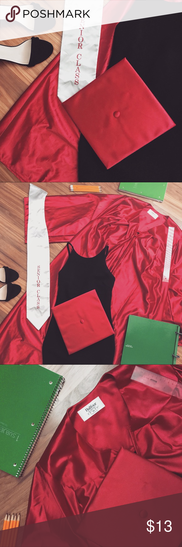 Balfour Red Cap and gown (Highschool) • Description/details: Fits ...