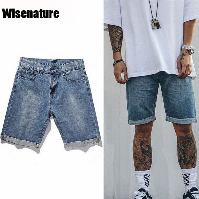 9a7d625e595 Mens High Street Fashion Shorts Water Washed Denim Shorts Streetwear  Vintage Short Pants 2017 Summer New