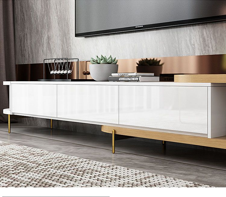 Luxury white movable tv stand and round coffee table