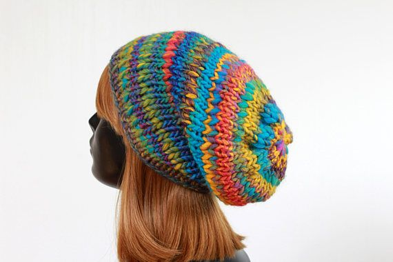 Chunky slouchy winter beanie hat, knitted unisex hat ...