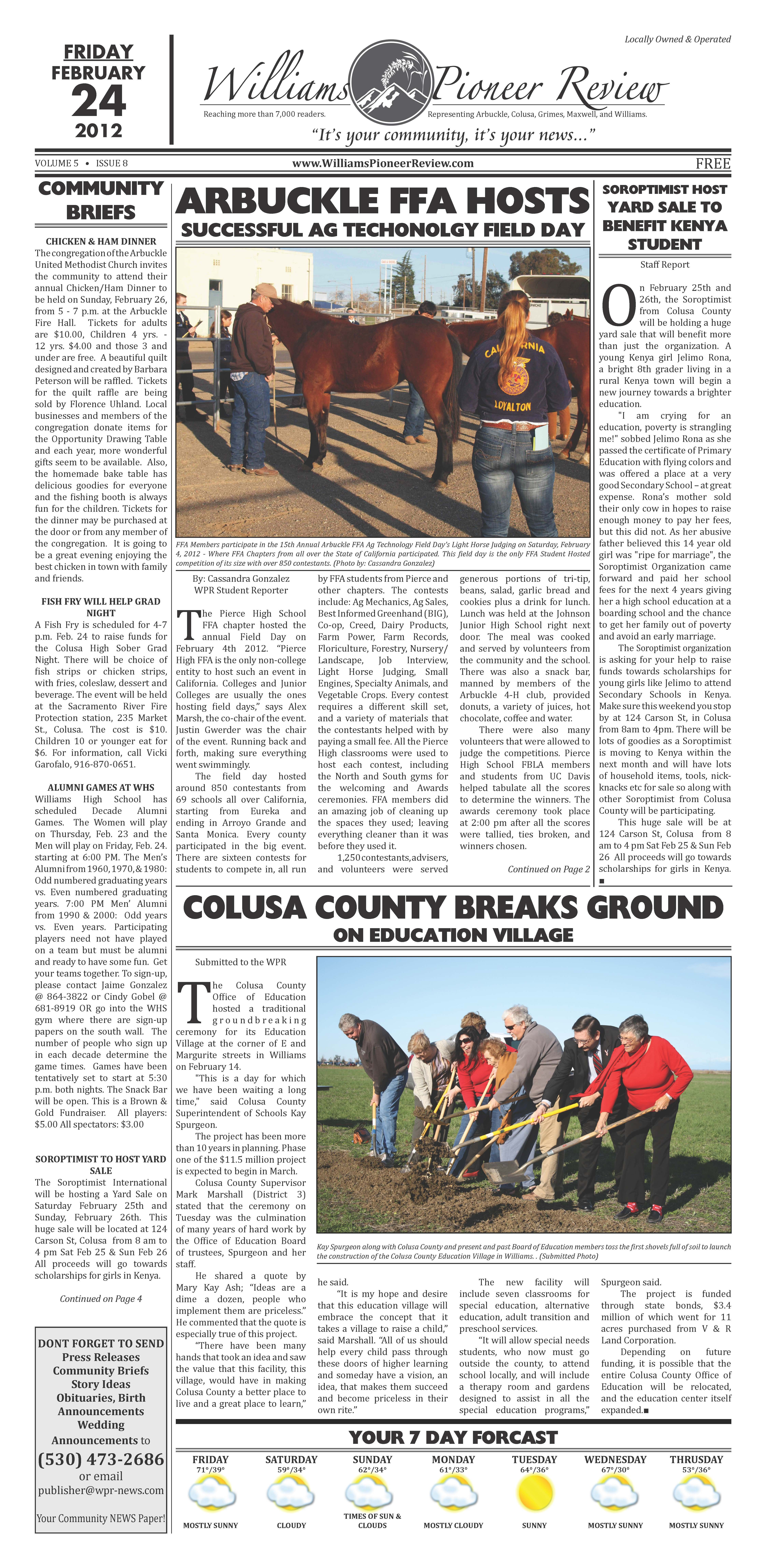 Williams Pioneer Review - Feburary 24, 2012 - Front Page
