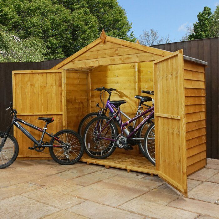 7 Ft. W x 3 Ft. D Overlap Apex Wooden Bike Shed in 2020