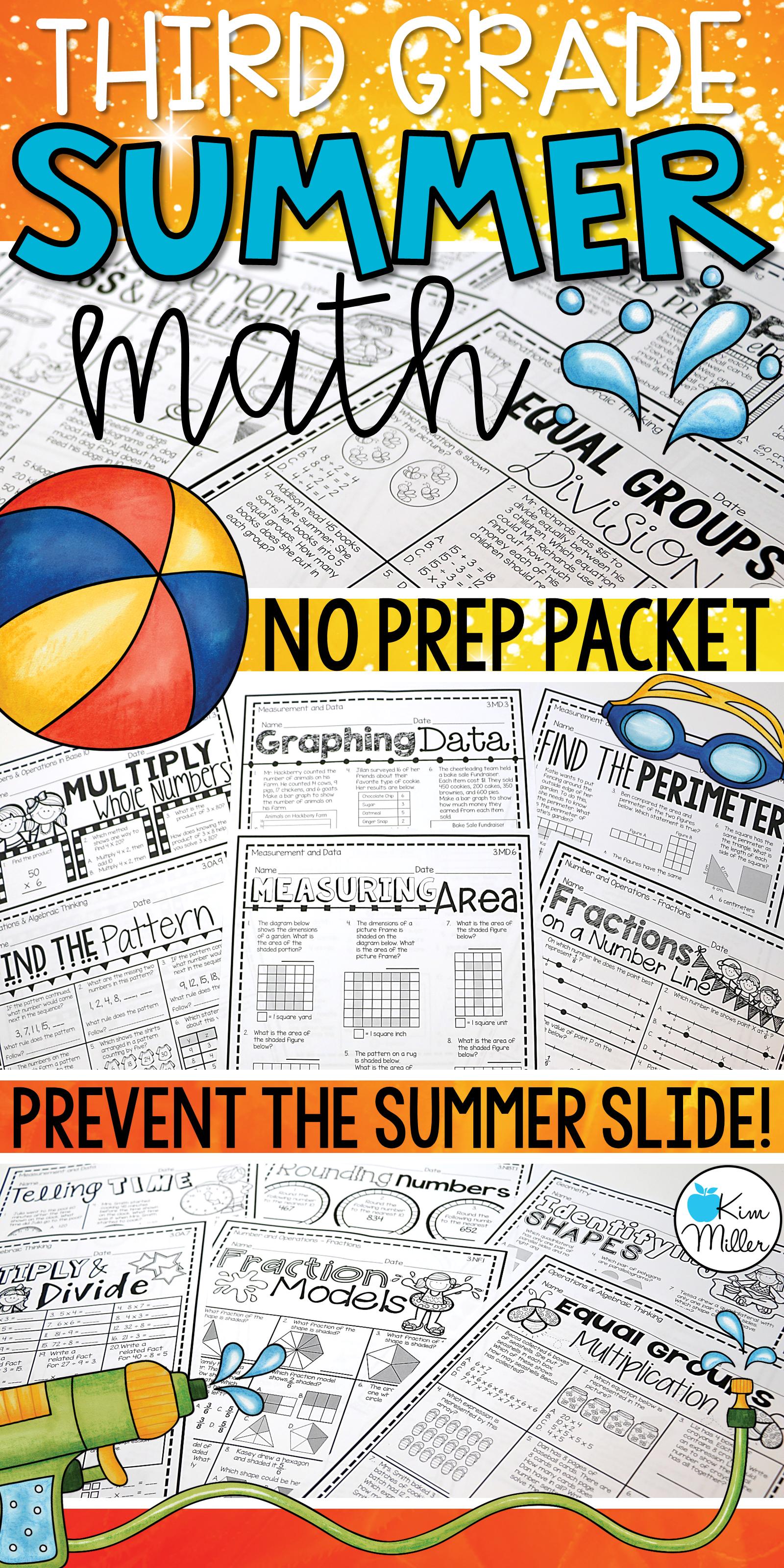 Math Summer Skills Review No Prep Packet 3rd Grade