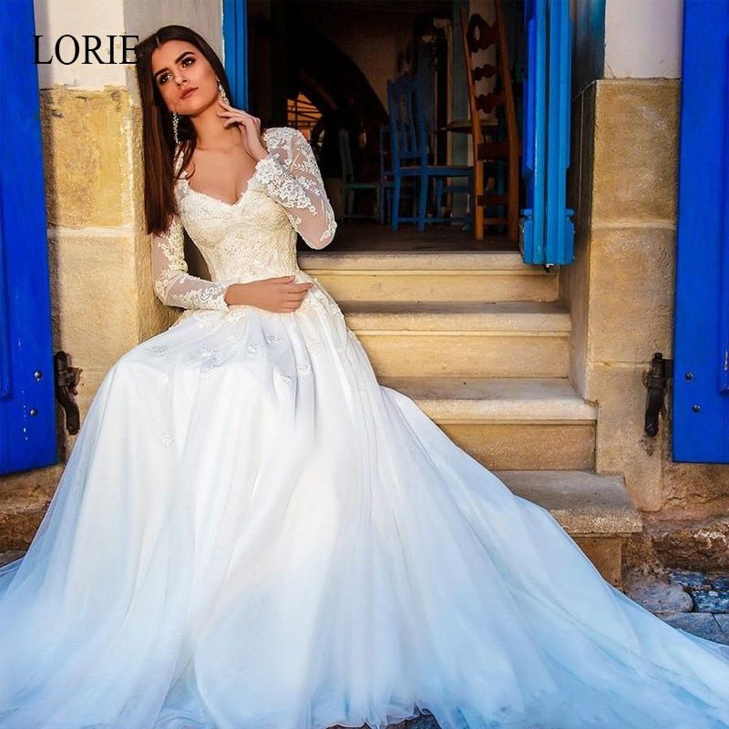Lorie Lace Wedding Dresses 2019 Appliqued With Lace A Line: LORIE A-Line Wedding Dresses 2019 Long Sleeve V-neck